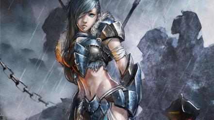 Art armor artwork aqua eyes anime girls wallpaper