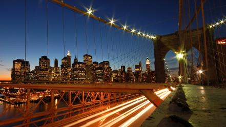 Cityscapes lights bridges Wallpaper