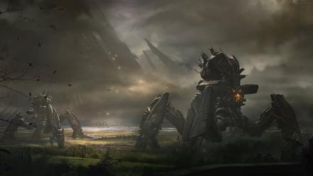 Resistance robots futuristic machines science fiction artwork wallpaper