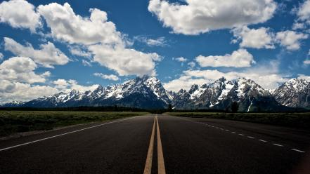 Roads grand teton national park skyscapes snowy wallpaper