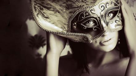 Women eyes models masks black and gold faces wallpaper