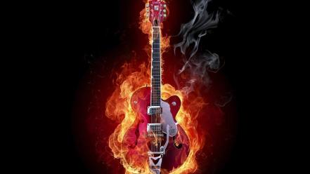 Abstract flames smoke guitars black background wallpaper