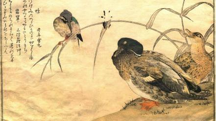 Birds ducks japanese artwork kitagawa utamaro wallpaper