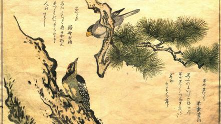 Birds japanese artwork kanji woodpecker kitagawa utamaro wallpaper