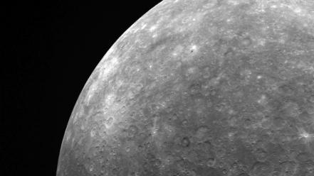 Black and white outer space planets mercury monochrome wallpaper