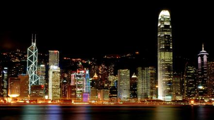 Cityscapes lights buildings reflections wallpaper