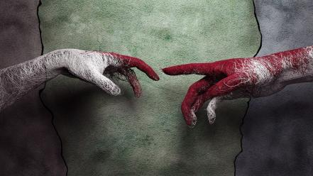 Hands artwork wires the creation of adam wallpaper
