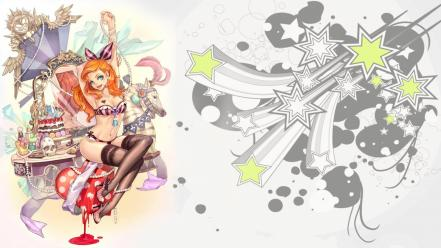 Orange hair anime girls jewels vector art wallpaper