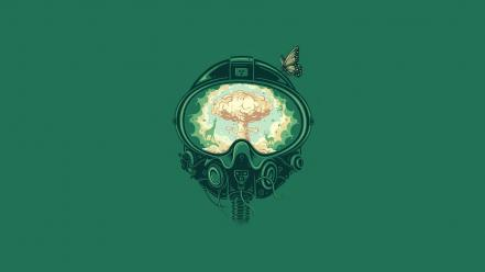 Artwork minimalistic nuclear explosions wallpaper