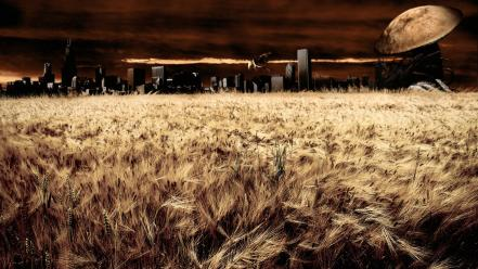 Dragons landscapes surreal wheat wallpaper