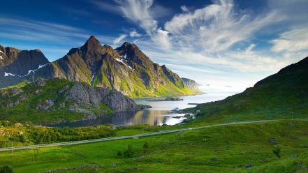 Fjord landscapes nordic sea wallpaper