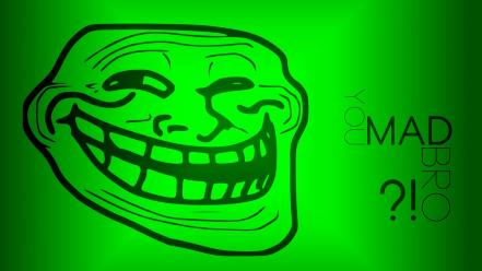 Internet funny green trollface wallpaper