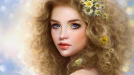 Ruoxing zhang artwork blondes blue eyes curly hair wallpaper