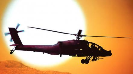 Ah64 apache us army attack helicopter helicopters sunset Wallpaper