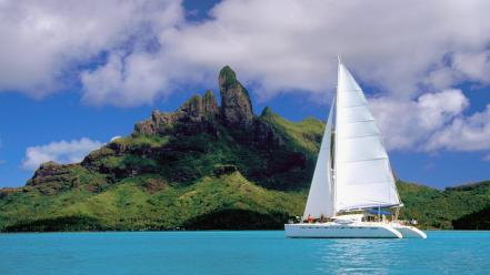 Bora french polynesia catamaran lagoon wallpaper
