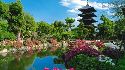 Japan japanese architecture kyoto flowers lakes wallpaper