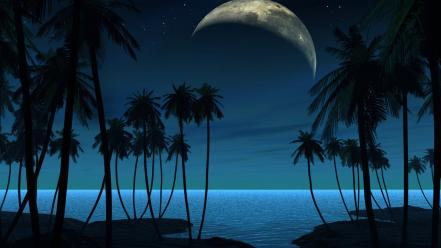 Moon night watch beaches wallpaper