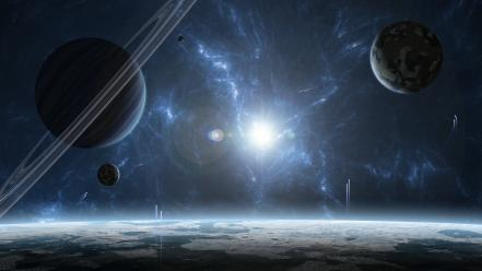 Saturn abstract outer space planets spacescape Wallpaper