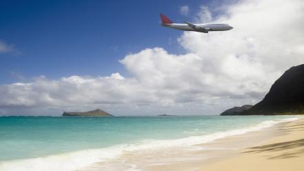Boeing 747 aircraft beaches clouds journey wallpaper