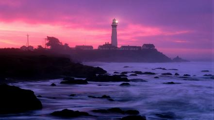 California lighthouses ocean pigeons point wallpaper