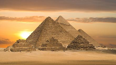 Egypt great pyramid of giza clouds deserts landscapes Wallpaper