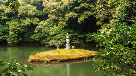 Japanese gardens lakes nature wallpaper