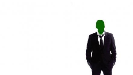 Anonymous green suit white background wallpaper