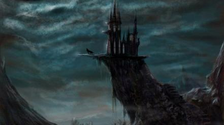 Castles fantasy night wolves wallpaper