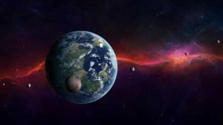 Earth moon galaxies outer space planets wallpaper