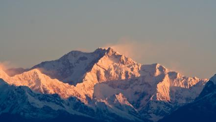 Himalaya kangchenjunga mountains pink background sunset wallpaper