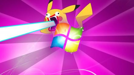 Microsoft windows pikachu pokemon 7 lasers wallpaper