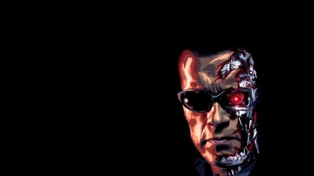 Arnold schwarzenegger terminator artwork black background wallpaper