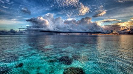 Maldives clouds sea water wallpaper