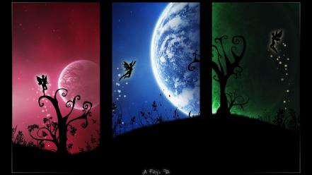 Moon abstract fairies fantasy vectors wallpaper