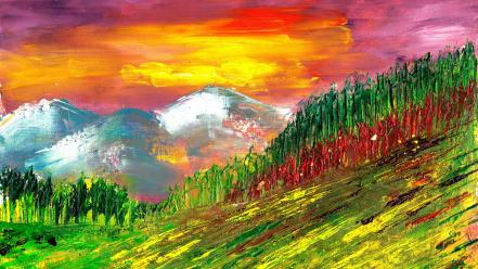Mountains nature paintings trees wallpaper