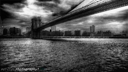 New york city bridges darkness grayscale monochrome wallpaper