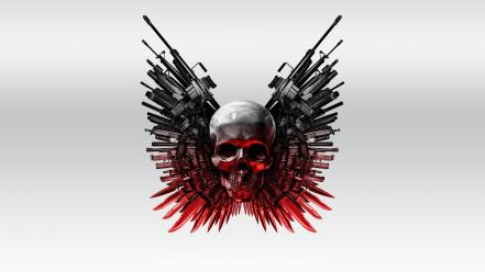 The expendables artwork movies simple background skulls Wallpaper