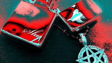 Zippo chains pentagram red wallpaper