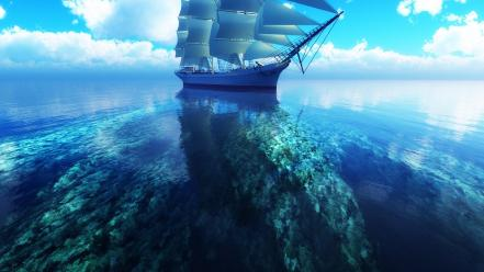 Clouds coral reef digital art sea ships wallpaper