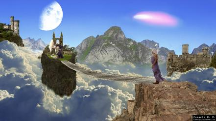 Daenerys targaryen game of thrones moon castles cliffs wallpaper