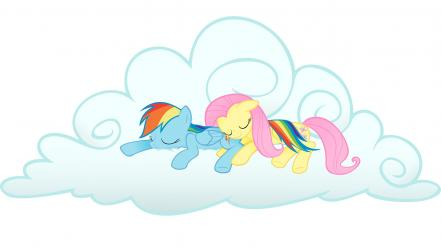 Fluttershy my little pony rainbow dash clouds ponies Wallpaper