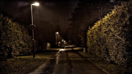 Night paths rain roads street lights wallpaper