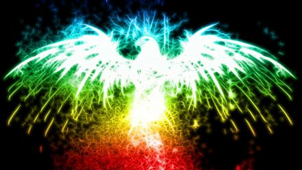 Abstract glow multicolor phoenix wallpaper