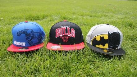 Batman captain america chicago bulls baseball caps grass wallpaper