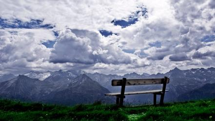 Bench clouds landscapes nature scenario wallpaper