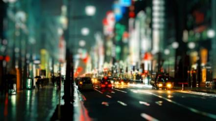 Bokeh cars cityscapes depth of field nighttime wallpaper
