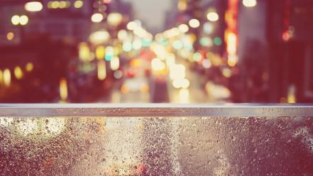 Bokeh cityscapes rain streets wallpaper