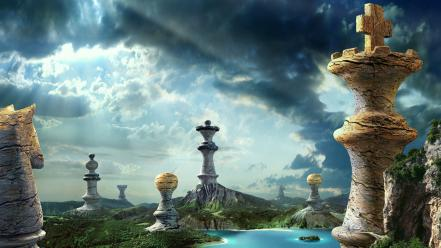 Chess pieces fantasy wallpaper