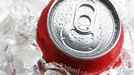 Cocacola frozen ice cubes soda cans Wallpaper