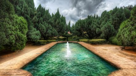 Fountain garden landscapes trees water wallpaper
